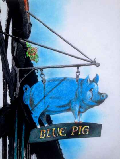 The Blue Pig Public House sign 2009