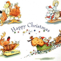 Christmas Card Cartoons for a health clinic 1993