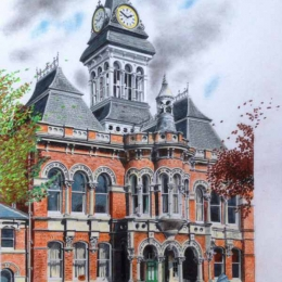 Grantham's Guildhall (Depicting the destruction of its decorative spire) 2012