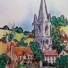 Stylised Village (for Lincolnshire County Council statistics poster) 1994