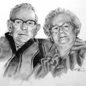 Double portrait HB and 2B pencils 2014