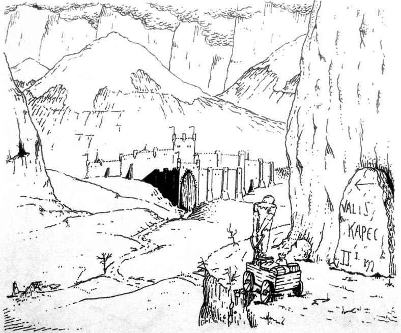 Illustration from 'Imtol and the Birds of Iron' (Aged 16) Imtol nears the city of Valiskapec